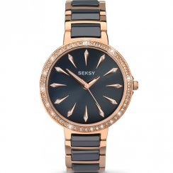 Seksy Aurora Blue Dial 2 Tone Rose Gold Bracelet Ladies Watch 2221