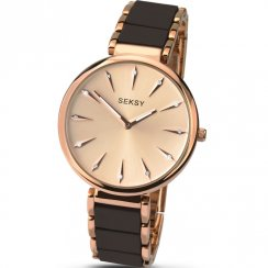 Seksy Aurora Rose Gold Dial 2 Tone Brown Bracelet Ladies Watch 2215