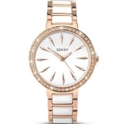 Seksy Aurora White Dial Rose Gold Bracelet with Ceramic Inlay Ladies Watch 2404