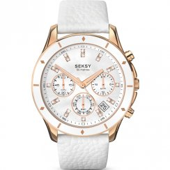 Seksy Chrono 365 White Dial White Leather Strap Ladies Watch 2212