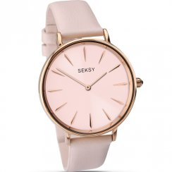 Seksy Edit Pink Dial Pink Leather Strap Ladies Watch 2009
