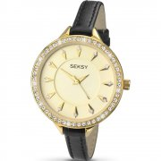Seksy Embrace champagne dial leather strap Ladies watch 2095