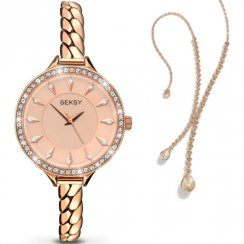 Seksy Embrace Rose Gold Bracelet Ladies Watch with Pendant 2072P