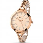 Seksy Embrace Rose Gold Dial Stainless Steel Bracelet Ladies Watch 2073
