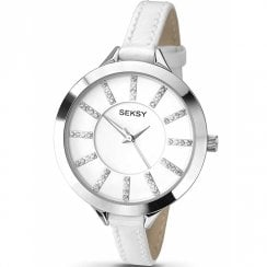Seksy Embrace White Dial White Leather Strap Ladies Watch 2094