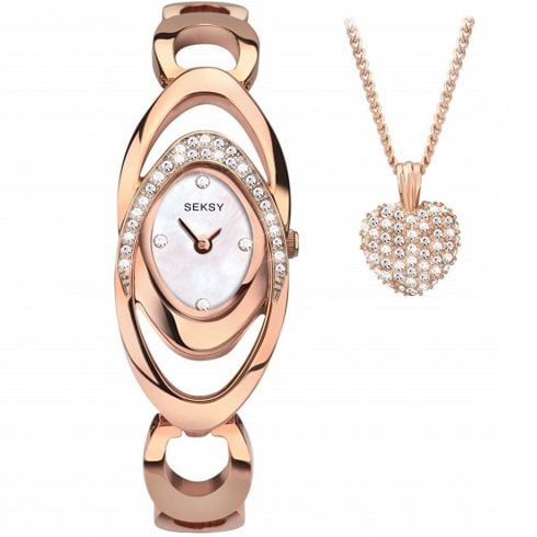 Seksy Entwine White Dial Rose Gold Bracelet Ladies Watch Gift Set 2359G