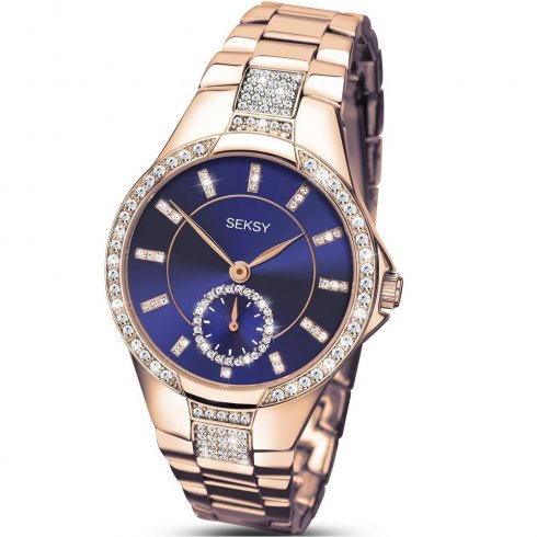Seksy Eternal Blue Dial Rose Gold Bracelet Ladies Watch 2183