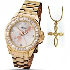 Seksy Floral Dial Gold Bracelet Ladies Watch with Pendant Gift Set 4655P