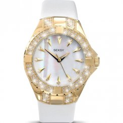 Seksy Intense Gold Case White Leather Strap Ladies Watch 4432