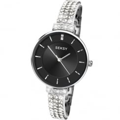 Seksy Krystal Black Dial Stone Set Resin Strap Ladies Watch 2447
