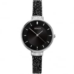 Seksy Rocks® Black Swarovski® Stones Bracelet Ladies Watch 2578