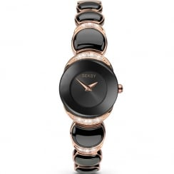 Seksy Sapphire Black Dial Rose Gold Bracelet with Inlay Ladies Watch 2296