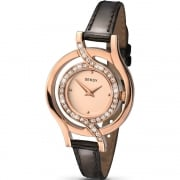 Seksy Twist Rose Gold Dial Black Leather Strap Ladies Watch 2039