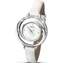 Seksy Twist White Dial White Leather Strap Ladies Watch 2141