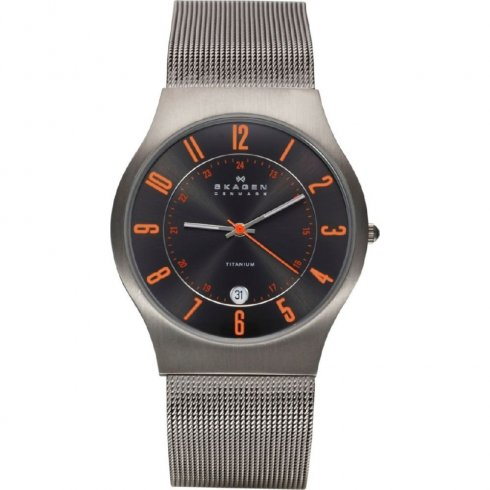 Skagen Classic grey dial stainless steel mesh Mens watch 233XLTTMO