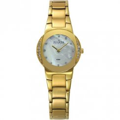 Skagen White Dial Gold Bracelet Ladies Watch 689SGXG