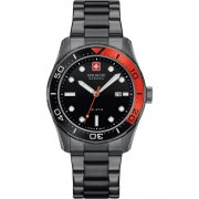 Swiss Military Aqualiner black dial stainless steel bracelet Mens watch 6-5213.30.007