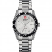 Swiss Military Aqualiner silver dial stainless steel bracelet Mens watch 6-5213.04.001
