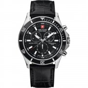 Swiss Military Flagship black dial chronograph leather strap Mens watch 6-4183.04.007