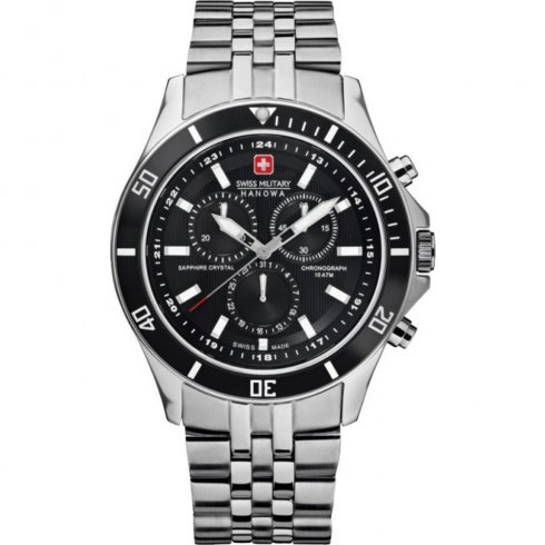 Swiss Military Flagship black dial chronograph stainless steel bracelet Mens watch 6-5183.04.007