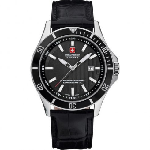 Swiss Military Flagship black dial leather strap Mens watch 6-4161.7.04.007