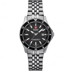 Swiss Military Flagship Black Dial Stainless Steel Bracelet Ladies Watch 6-7161.2.04.007