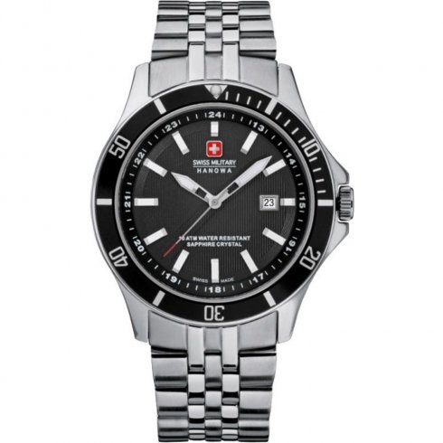 Swiss Military Flagship black dial stainless steel bracelet Mens watch 6-5161.7.04.007