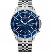 Swiss Military Flagship blue dial chronograph stainless steel bracelet Mens watch 6-5183.04.003