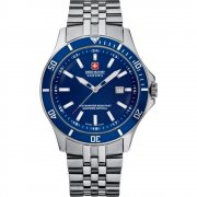 Swiss Military Flagship blue dial stainless steel bracelet Mens watch 6-5161.7.04.003