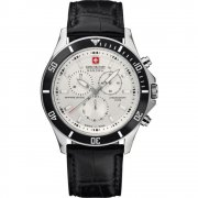 Swiss Military Flagship white dial chronograph leather strap Mens watch 6-4183.04.001.07