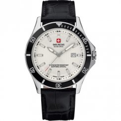 Swiss Military Flagship white dial leather strap Mens watch 6-4161.7.04.001.07