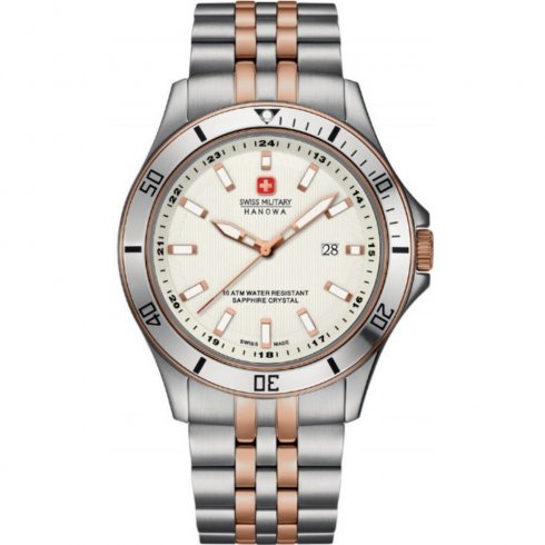 Swiss Military Flagship white dial stainless steel bracelet Mens watch 6-5161.7.12.001
