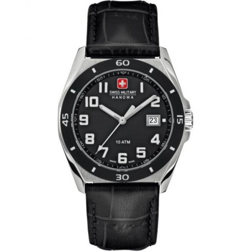 Swiss Military Guardian black dial leather strap Mens watch 6-4190.04.007