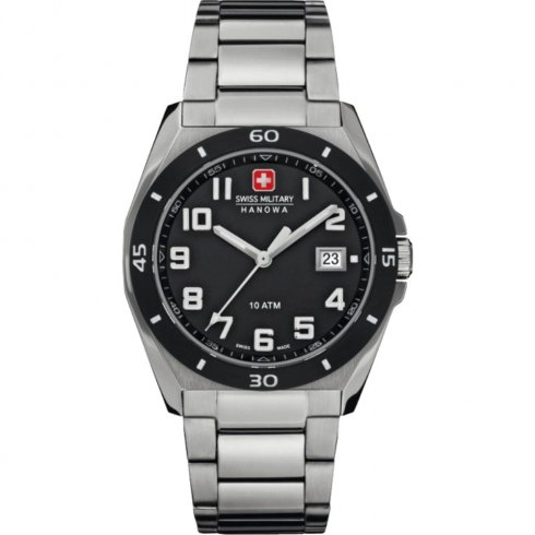 Swiss Military Guardian black dial stainless steel bracelet Mens watch 6-5190.04.007