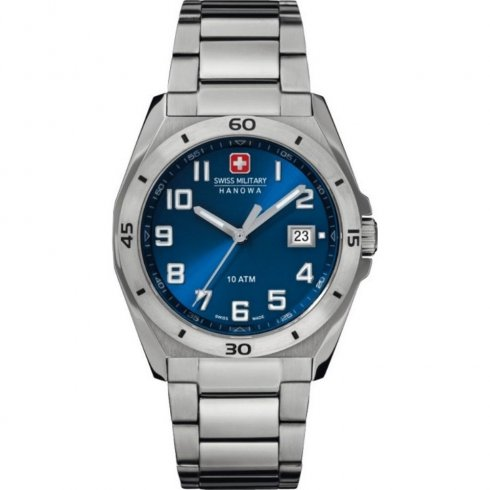 Swiss Military Guardian blue dial stainless steel bracelet Mens watch 6-5190.04.003