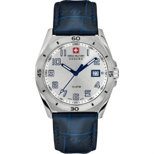 Swiss Military Guardian silver dial leather strap Mens watch 6-4190.04.001.03