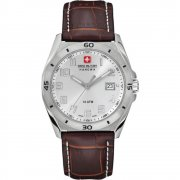 Swiss Military Guardian silver dial leather strap Mens watch 6-4190.04.001.05