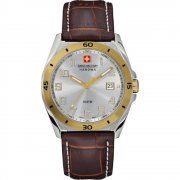 Swiss Military Guardian silver dial leather strap Mens watch 6-4190.55.001