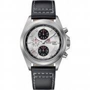 Swiss Military Infantry silver dial chronograph leather strap Mens watch 6-4202.1.04.001