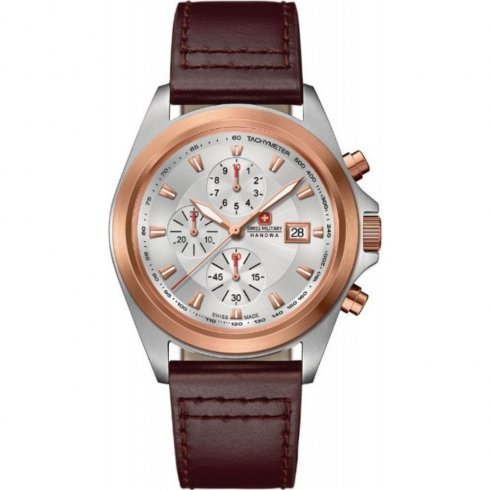 Swiss Military Infantry silver dial chronograph leather strap Mens watch 6-4202.1.12.001