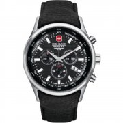 Swiss Military Navalus black dial chronograph leather strap Mens watch 6-4156.04.007