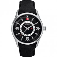 Swiss Military Navalus black dial leather strap Mens watch 6-4155.04.007