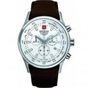 Swiss Military Navalus Chronograph White Dial Leather Strap Mens Watch 6-4156.04.001.05