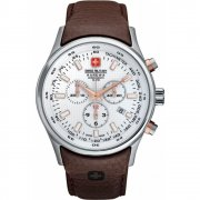 Swiss Military Navalus Chronograph White Dial Leather Strap Mens Watch 6-4156.04.001.09
