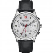 Swiss Military Patriot silver dial chronograph leather strap Mens watch 6-4187.04.001