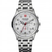 Swiss Military Patriot silver dial chronograph stainless steel bracelet Mens watch 6-5187.04.001