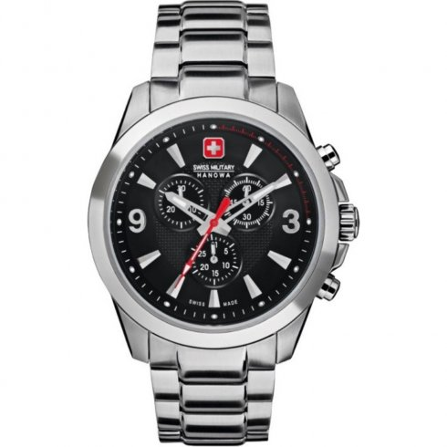 Swiss Military Predator black dial chronograph stainless steel bracelet Mens watch 6-5169.04.007