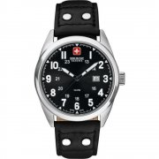 Swiss Military Sergeant black dial leather strap Mens watch 6-4181.04.007