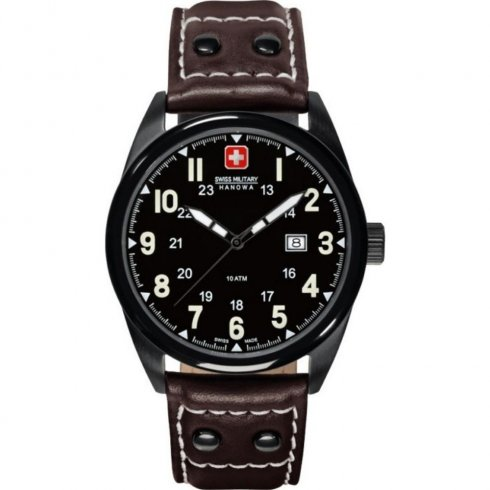 Swiss Military Sergeant black dial leather strap Mens watch 6-4181.13.007.05