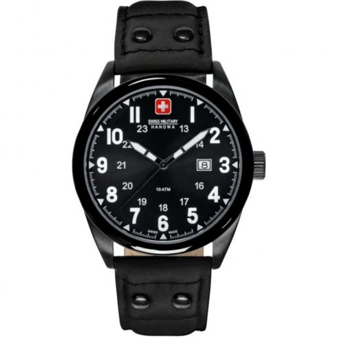Swiss Military Sergeant black dial leather strap Mens watch 6-4181.13.007